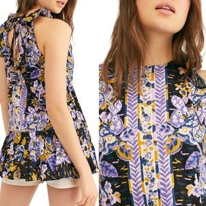 Free People Womens Summer in Tulum Linen Floral Tunic Top